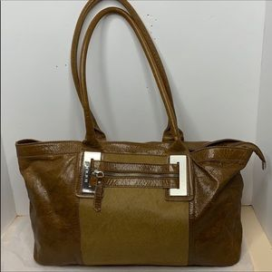 INNUE Glazed leather and calf hair tote